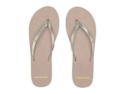 Tory Burch Metallic Leather Flip-Flop (Spark Gold/Light Taupe) Women