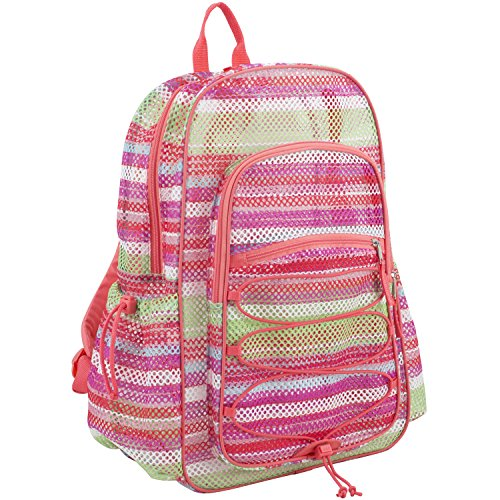 Eastsport XL Semi-Transparent Mesh Backpack with Comfort Padded Straps and Bungee, Coral/Print Mesh