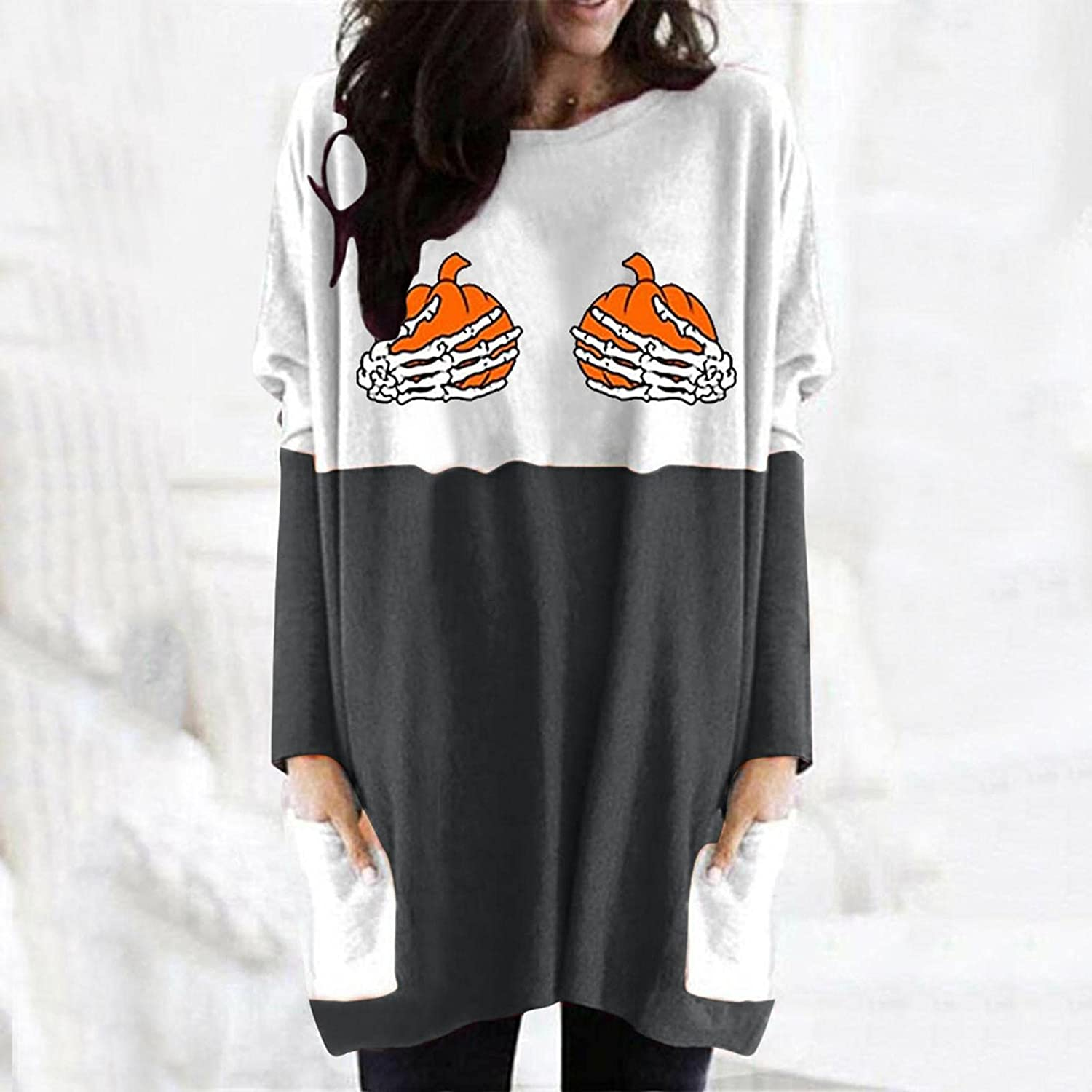 Jaqqra Halloween Sweatshirts for Women Casual Pullover with Pockets Pumpkin Print Long Sleeve Tunic Shirts Blouse Tops