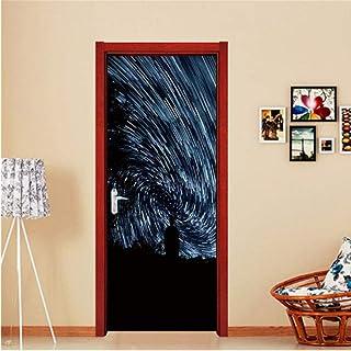 Wangjru 77X200Cm Black Hole Door Sticker Diy Waterproof Self Adhesive Wallpaper Stickers On The Doors Home Decor Poster De...