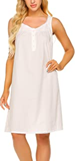 Ekouaer Women's Nightgown Sleepwear Cotton Sleeveless Sleep Dress V Neck Nightwear Loungewear