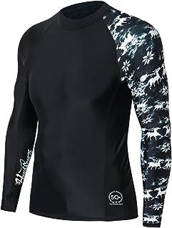 HUGE SPORTS Men's Splice Compression Long Sleeve Rash Guard Surf Wetsuit Swim Shirt UV Sun Protection UPF 50+