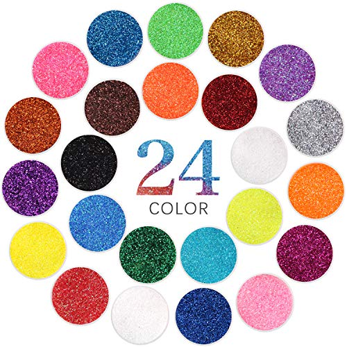 Extra Fine Glitter Powder for Craft, 24 Colors Holographic Cosmetic Laser Glitter for Nail Body Eye Hair Face Lip Gloss, Iridescent Glitter Powder for Tumbler and Makeup (24 Fine)