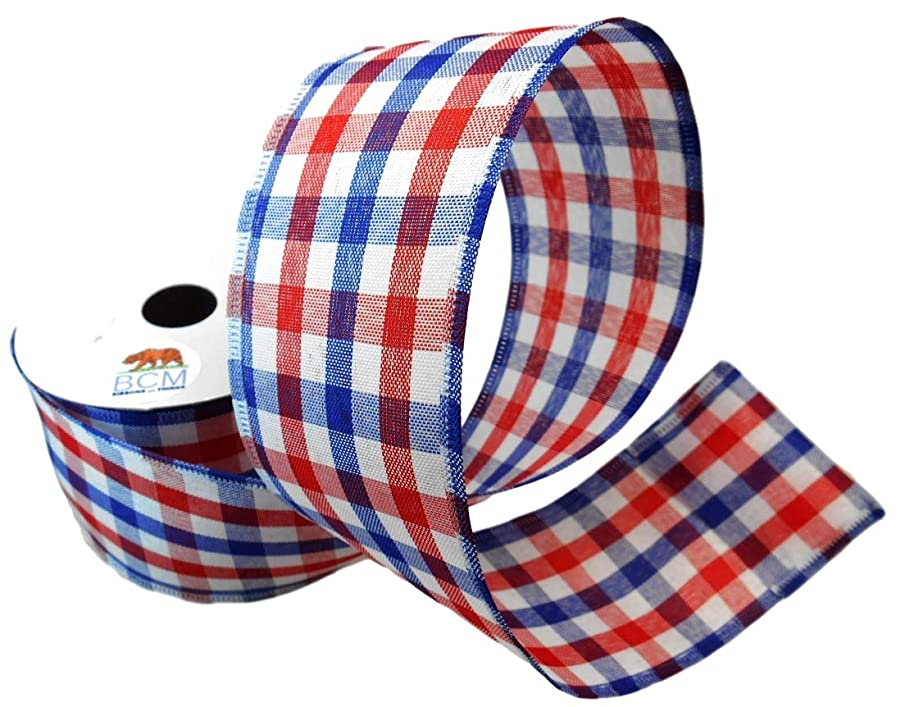 Americana Red, White and Blue Check Ribbon - 100% Cotton and Wired Edge Ribbon 2 1/2