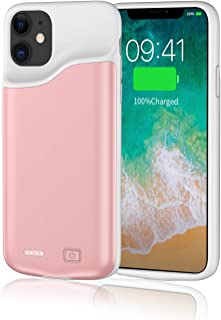 Battery Case for iPhone 11 Pro Max,YISHDA Upgraded [6000mAh] Protective Portable Charging Case,Rechargeable Charging Case, External Charging Cover (6.5 inch) –Pink