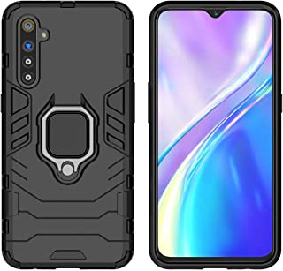 YEESOON Oppo K5 / Realme X2 / Realme XT Case, Dual Layer Hybrid Shockproof Protective Case with Ring Stand & Magnetic Car Mount Function Back Cover for Oppo K5 / Realme X2 / Realme XT - Black