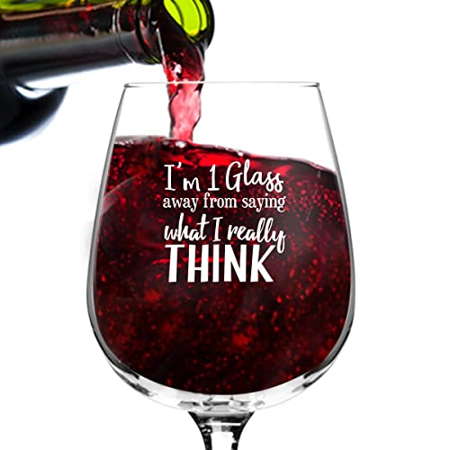 What I Really Think Funny Wine Glass For Women Premium Birthday Gift Her