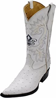 Dona Michi Cowboy Boot's Leather Ostrich Back Cut 2X Toe Cowboy Handmade Luxury Boots White-9.5