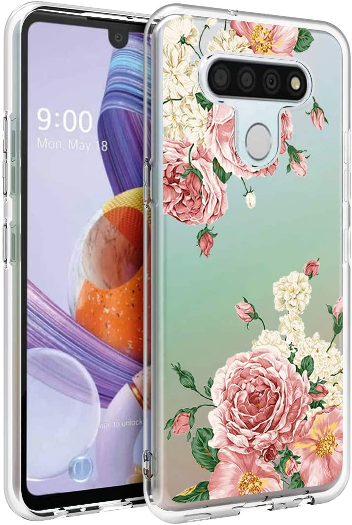 Osophter for LG Stylo 6 Case Clear Transparent Reinforced Corners TPU Shock-Absorption Flexible Cell Phone Cover for LG Stylo 6(Big Rose Flower)
