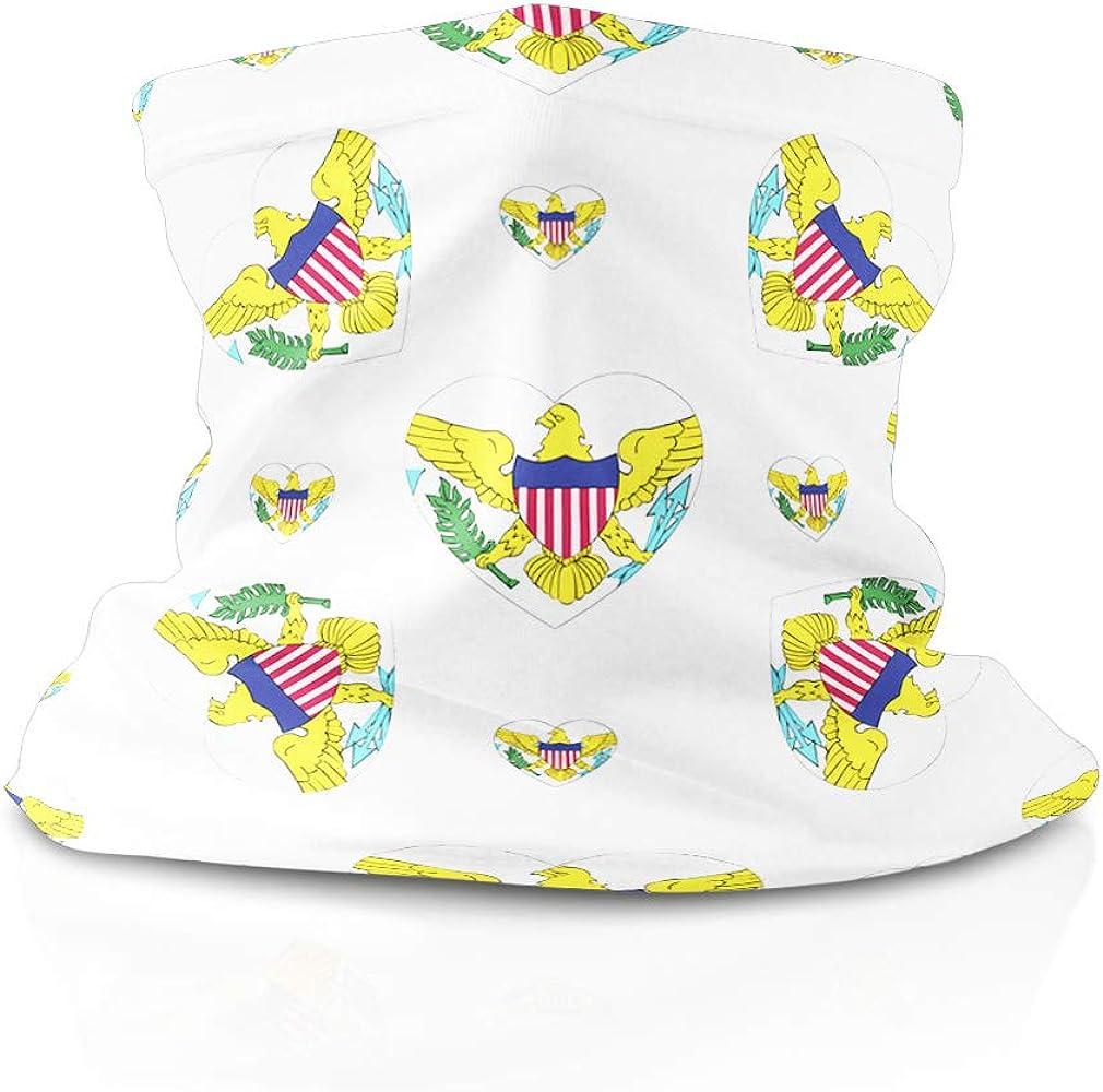 Neck Gaiter Face Cover Us Virgin Islands Flag Hearts Headwrap Balaclava