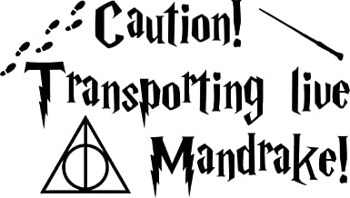 Transporting Live Mandrake with Wand Vinyl Decal Stickers