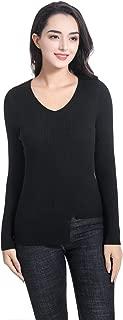 B BIMOZI Womens Pullover Sweater Tunic V Neck Irregular Hem Rib Knit Sweater Tops