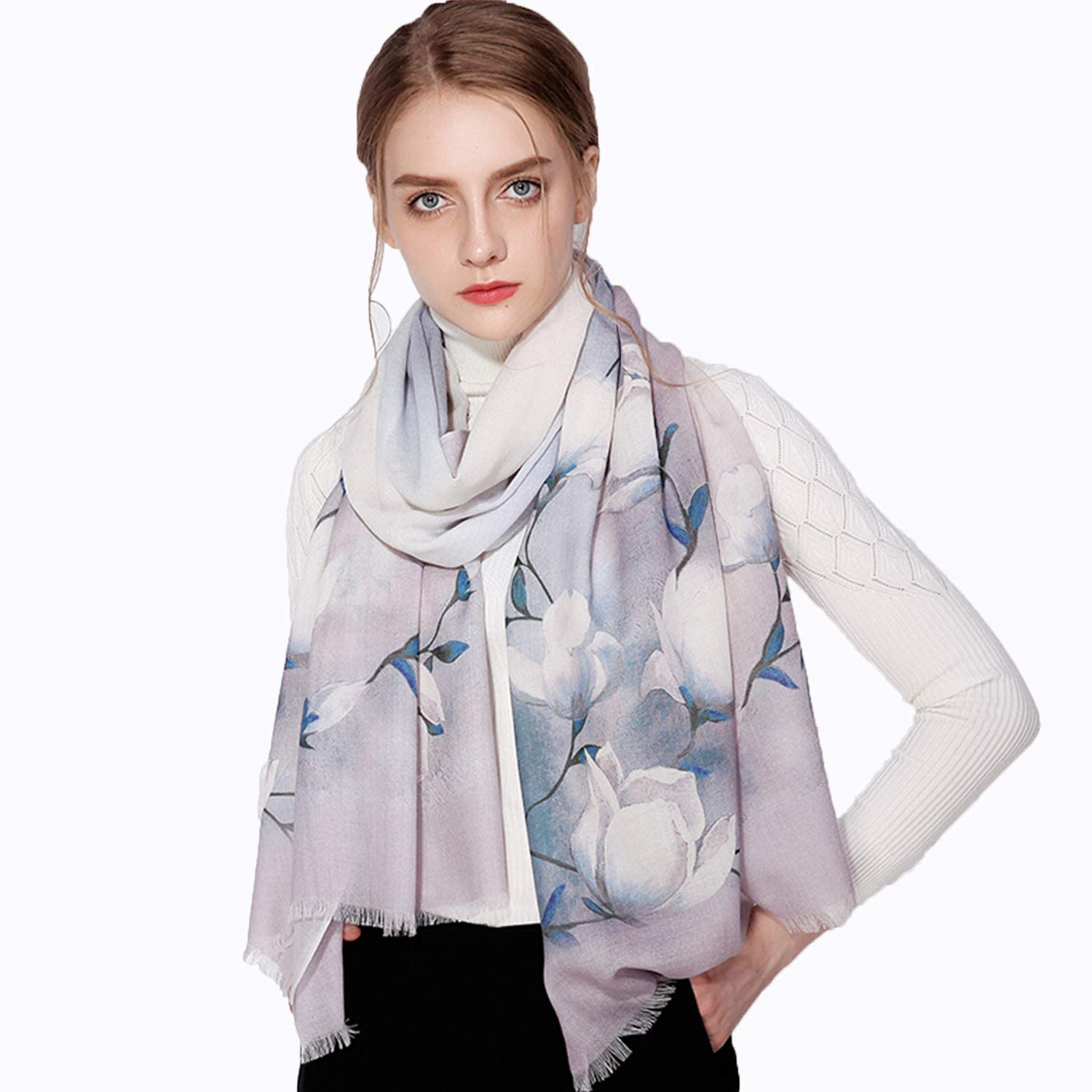 Wool Scarf for Women,Stylish Long Warm Printed Wrap Shawl Ideal for Ladies Autumn Winter Outdoor Activities Use
