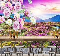 Wkxzz 壁の背景装飾画 壁紙屋外山日没風景牡丹イラスト背景壁画リビングルームレストランカフェ壁紙-250X175Cm