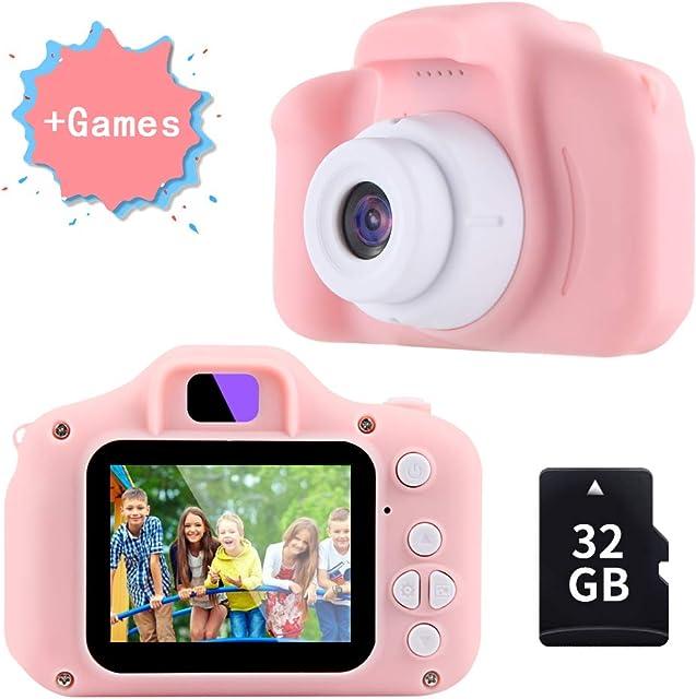 TekHome Cámara de Fotos para Niños con Juegos 32GB Tarjeta SD y Acollador Cámara Digital 1080P HD Video Juguetes Niña 3-10 Años Regalo Niña Cumpleaños Infantil Rosa.