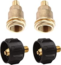 Highmoor QCC1 Propane Tank Adapter Gas Regulator Valve Fitting with Type 1 Connection, QCC1 Acme Nut Propane Gas Fitting Adapter with 1/4 Inch Male Pipe Thread, Brass