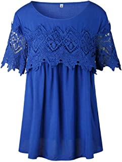 OTW Women Casual Crew Neck Summer Floral Lace Tunic Short Sleeve Tee Shirts Blouse Top