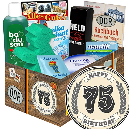 75 Geburtstagsgeschenke / 75-Geburtstag lustige Geschenke Frau / DDR Pflege Box