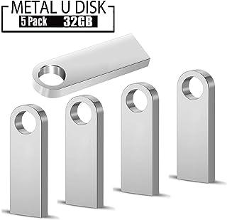 Memorias USB 32 GB,5 Piezas PenDrives Memoria Flash USB 2.0 JUYUKEJI Mini Unidad Flash Unidad de Memoria USB Resistente al Agua con Carcasa de Metal, Plateada (32GB * 5)