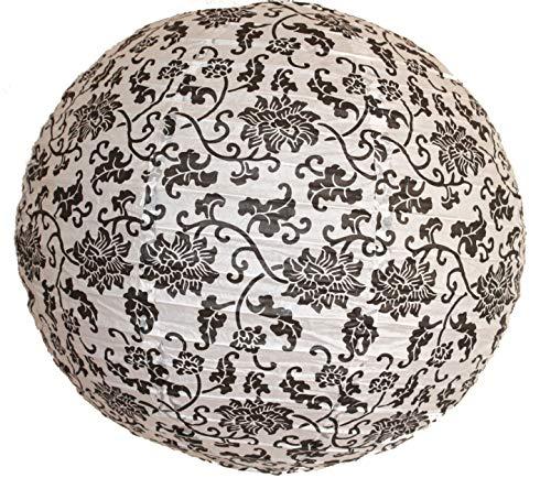 AAF Nommel ® 160, Lampion 1 Stk. Papier weiss schwarz japanisch rund Durchmesser 40 cm