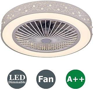 XMYX Invisible Ventilador de Techo Luz de Techo LED Silencioso Ventilador de Techo Moderna Lámpara de Techo con Luz y Mando a Distancia Ventilador Plafones Salón Dormitorio Habitación para Niños, 36W