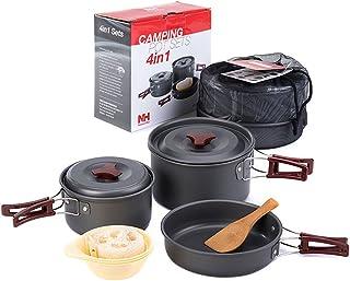 NatureHike クッカーセット コッヘル バーべキュー用品 調理器具 ステンレス鍋 キャプ用品 ミニキット 2-3人用 4in1