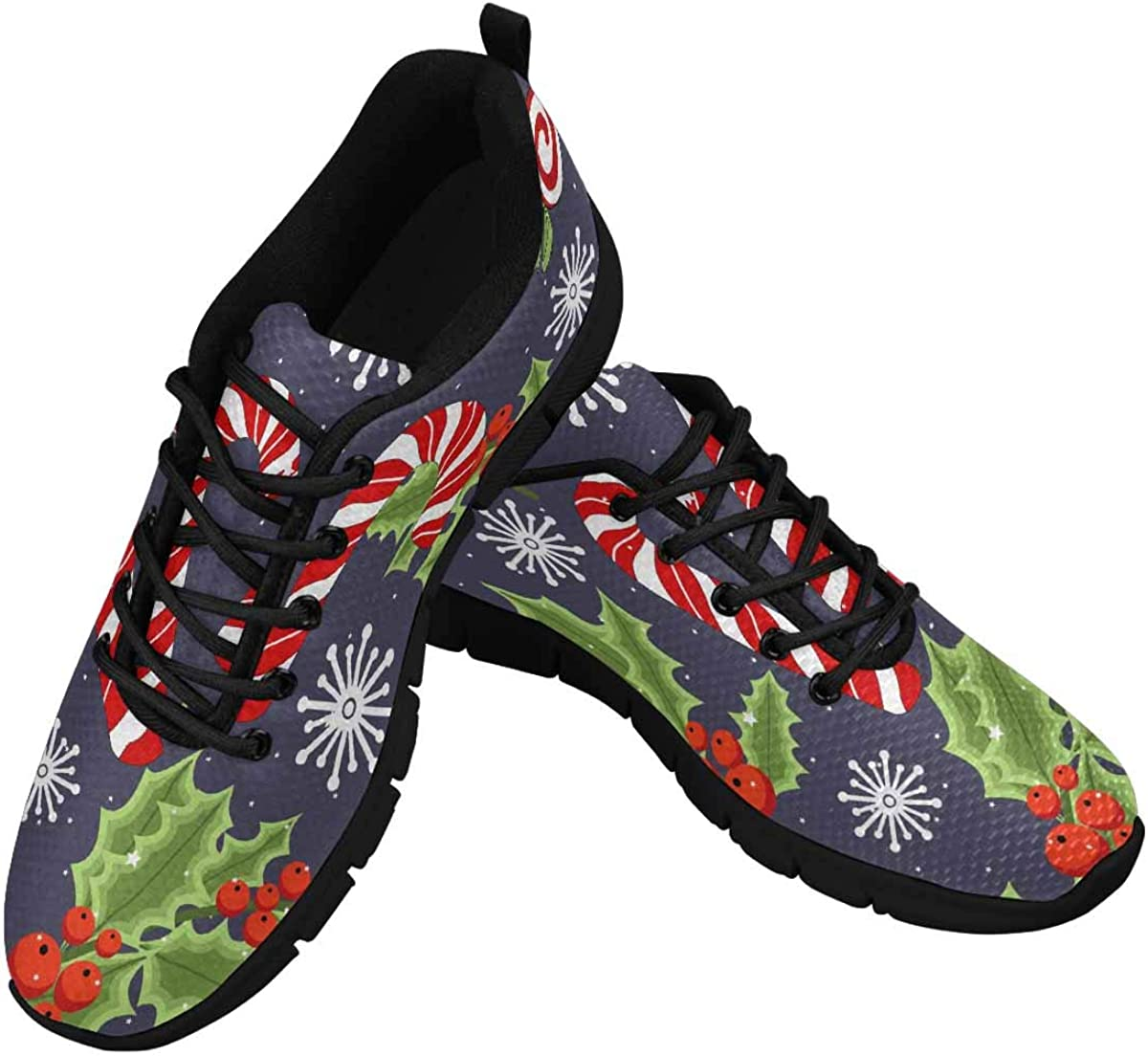 INTERESTPRINT Christmas Reindeer and Holiday Items Women's Breathable Comfort Mesh Fashion Sneakers