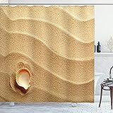 ABAKUHAUS Muscheln Duschvorhang, Seashells gelber Sand, Wasser Blickdicht inkl.12 Ringe Langhaltig Bakterie & Schimmel Resistent, 175 x 200 cm, Sand braunen