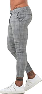 GINGTTO Mens Chinos Slim Fit Stretch Flat-Front Skinny Dress Pants Grey Plaid