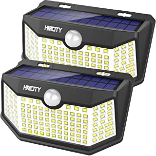 Hmcity Solar Lights Outdoor 120 LED with Lights Reflector and 3 Lighting Modes, Motion Sensor Security Lights,IP65 Waterpr...