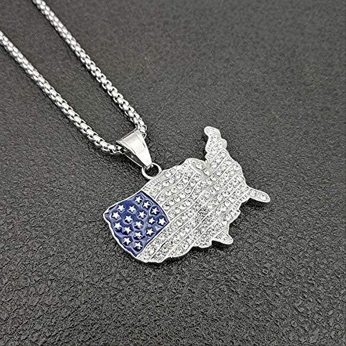 huangshuhua Necklace Necklace USA Map Pendant Acero Inoxidab