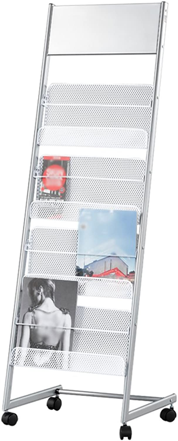 Easy Landing Exhibition Magazine Rack Iron Newspaper Stand Office Silver == (color   B)