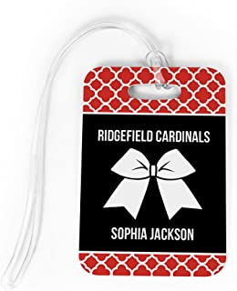 Cheerleading Luggage & Bag Tag | Personalized Cheer Squad with Bow | Standard Lines on Back | MEDIUM | RED/BLACK