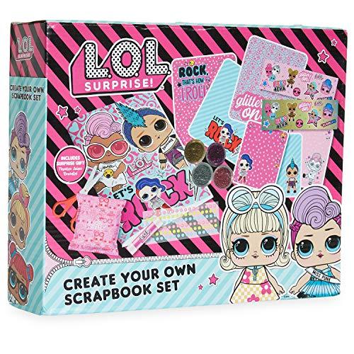 L.O.L. Surprise! Kit Manualidades Niños Scrapbooking, Incluye Pegatinas Album Scrapbook Purpurina y Pegamento, Actividades Creativas Regalos Originales para Niños y Niñas
