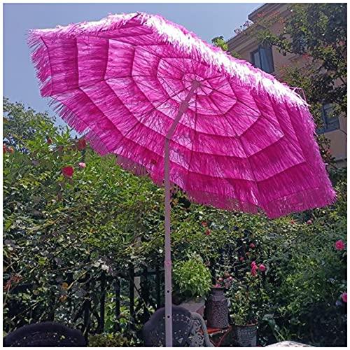 WUKALA Hawaiian Strohgedeckter Sonnenschirm 6ft,Neigbar 45° Neuer Strandschirm,Stabiler Outdoor Sonnenschirm,für Pool Kleiner Bistro Lawn Gartenschirm Rosa