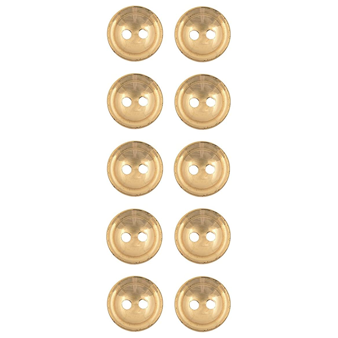 Concave With Double Rim 2 Hole ABS Metal Plated Button 20Line Gold cobkfymnbn53