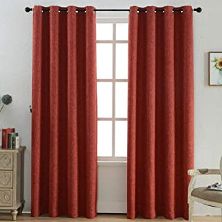 Kotile Blackout Orange Curtains for Girls Room/Kids Room 63 Inch Length 2 Panels, Home Decor Window Treatment Thermal Insulated Ring Top Curtains with Faux Linen Weave Texture, Dark Orange