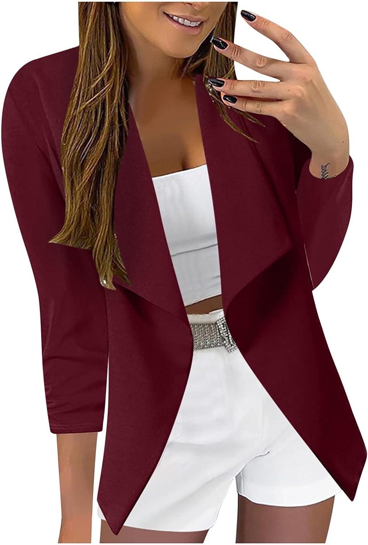 Xinantime Lapel Blazer Jacket Women Work Office Slim Cardigan 3/4 Sleeve Floral Printed Jacket Ladies Lightweight Cardigan