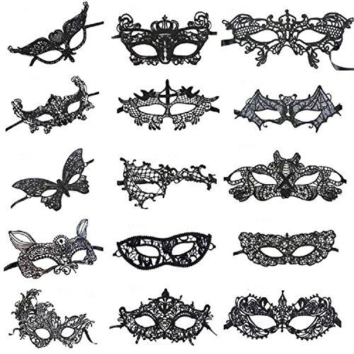 Amaza Venezianische Masken Sexy Laser Masquerade Maske Gesicht Augenmaske Spitze für Damen, 15 Stück, (Schwarz)