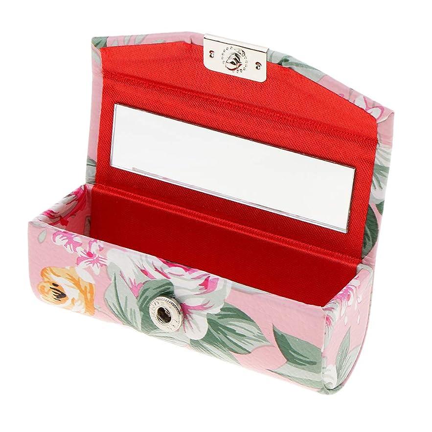 ビルマ意気込み酸素KESOTO リップスティックケース ミラー付き 革製 宝石 メイクアップ 口紅 メイクアップ 収納ホルダー  5色選べ - ピンク