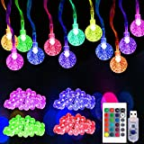50 LED Globe 16 Colors Changing Ball String Lights, USB Powered Christmas String Lights with Remote, Decor for Indoor Bedroom Party Wedding Xmas Tree
