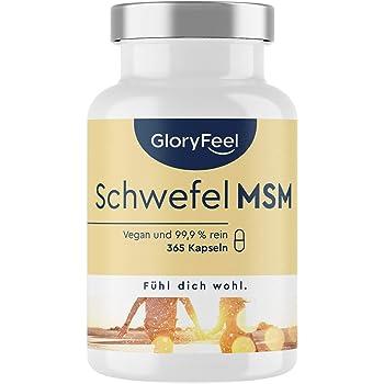 MSM gagnant du concours 2019 - 365 capsules végétaliennes (6 mois) - 1600 mg de MSM (méthylsulfonylméthane) en poudre par dose quotidienne - testé en laboratoire sans additifs