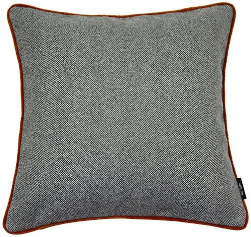 McAlister Textiles Herringbone Boutique à Chevrons | Taie d'oreiller Extra Large | 49 x 49 cm en Gris Anthracite | Housse de Coussin décorative pour Canapé, Sofa, Fauteuil, Lit et Laine