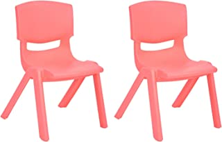 JOON Stackable Plastic Kids Learning Chairs, 20.5x12.75X11 Inches, The Perfect Chair for Playrooms, Schools, Daycares and Home, Coral, (2-Pack)