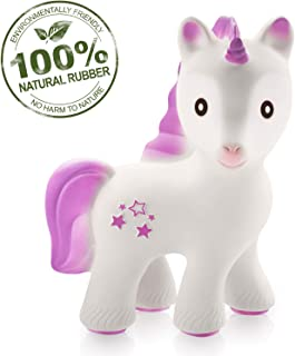 caaocho Baby Teething Toys - Mira The Unicorn Teethers for Babies BPA Free - Infant Toys Collection of Teething Toys - Natural Rubber Molar Teether - Great for Registry (Lavender)
