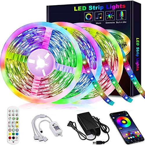 Wandskllss Tira de luces LED con control remoto de aplicación luces LED que cambian de color luces LED para TV, cocina, hogar, fiesta, decoración de Navidad, 1 rollo de 5 metros