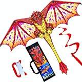 HONBO Dragon Kite for Kids and Adults-Easy to Fly, Beginner Kite-55 x 62inch with Spinning Tail 200ft Kite...