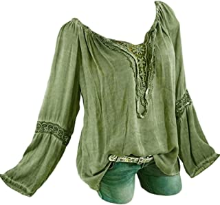 iYBUIA Women Slash Neck Long Sleeves Pure Color Lace Splicing Tops Plus Size Blouse