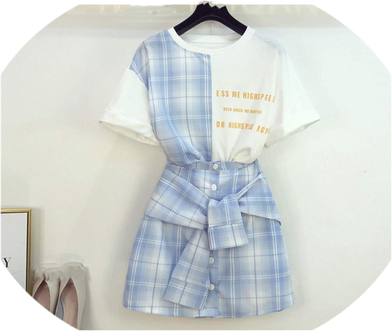 Enjoypeak Summer New Korean Sculpture Printing TShirt + High Waist Ribbon Plaid Girlfriend Skirt Two Piece
