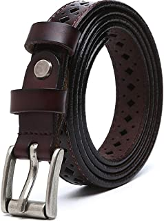 Women's Belt Leather Casual Openwork Pin Buckle Belt (Color : Brown)